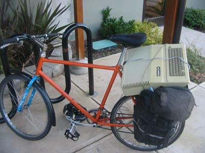 Apple II on bike