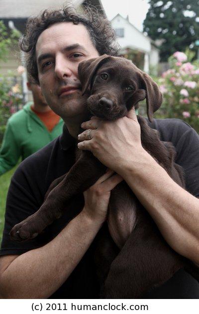 Tom Scharpling with Puppy