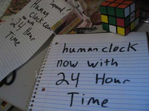 Humanclock with 24 hour time!